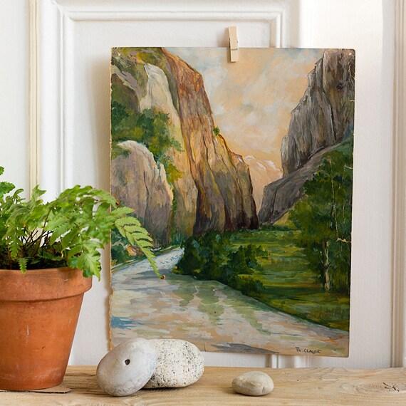French Plein Air River Gorge Gouache Painting