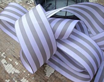 French Country Grey and White Stripe Taffeta Ribbon