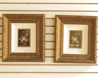 F40453E:  Pair Of Framed Oil On Board Floral Paintings