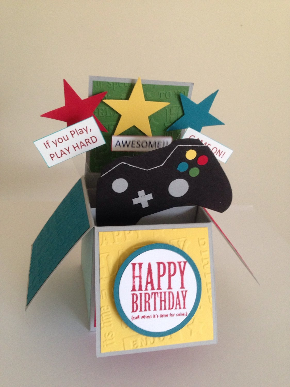 Handmade Gaming Birthday Card Teen Birthday Card Pop Up Fun