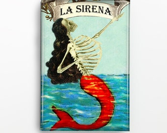 La Sirena Skeleton Mermaid Rectangle Magnet 402