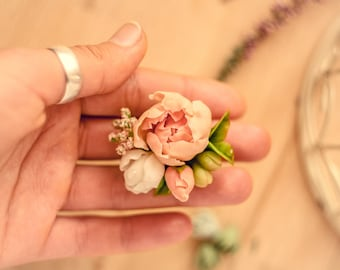 Flower ring Peach peony ring Wedding floral jewelry Bridal flower ring bridesmaid accessory Gift for wife Natural look