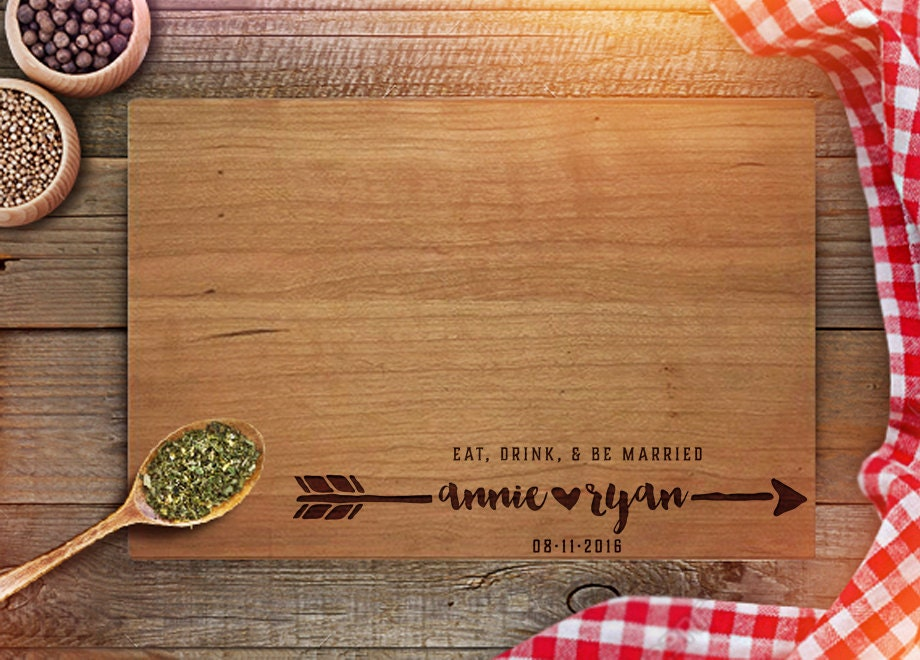 Unique Handmade Wedding Gifts: Personalized Cutting Board Custom Wedding Gifts Engraved