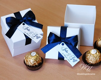 White & Navy Blue Wedding Bonbonniere - Wedding favor boxes with satin bow and custom tag - candy box and any color of ribbon