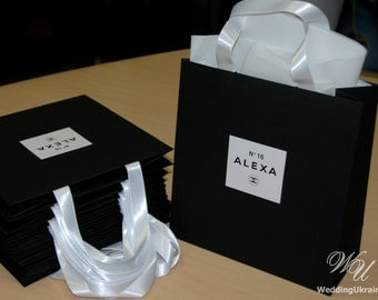 Chanel Theme Birthday Gift Bag with satin ribbon and Personalized tag - Black & White Sweet Sixteenth Chanel style party Welcome Bags Favors