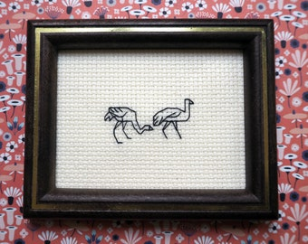 "Miniature embroidery picture ""Flamingo fumbling"""