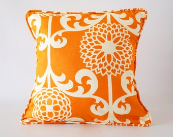 Orange pillow, orange pillow cover with trim, orange pillow piping, throw pillows, cushion, decorative pillows