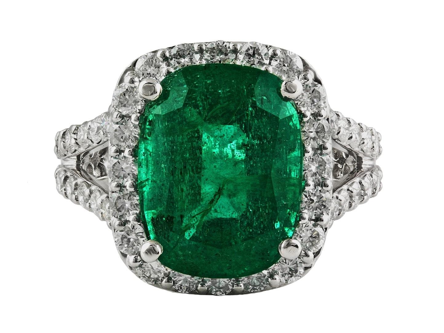 7 47ct Cushion Cut Zambian Emerald With Diamond Accent In 14k