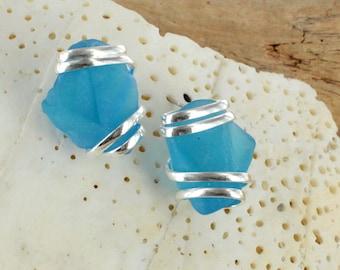 Aqua Sea Glass Earring