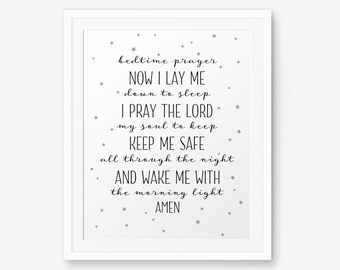 Bedtime Prayer, Nursery decor, Baby shower gift, Baptism Gift, Children Wall Decor, Bedroom Decor