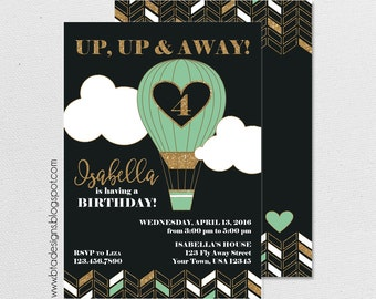 Hot Air Balloon, Up, Up, & Away Birthday Party Invitation 1, Customized, Digital File