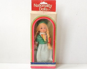 Vintage Costume Doll, National Costume of Ireland, Collectable Plastic Sleeping Eyes Doll, Nationality Dolls, Original Box, 1960s, 00857