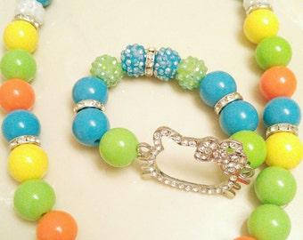 Hello Kitty Bracelet and Necklace Set
