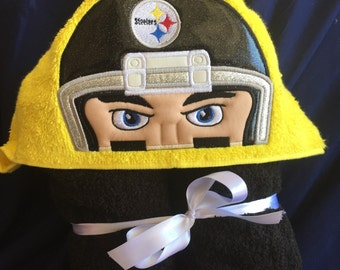 Football Steelers Hooded Towel - Personalized