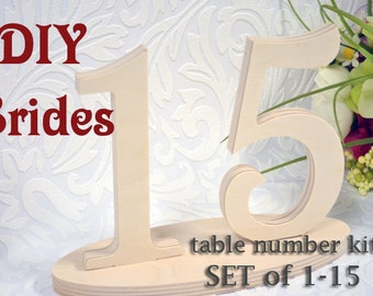 Wooden Table Numbers - DIY Do It Yourself Wedding Table Number Kit - Unfinished Wood Numbers for Wedding DIY Craft Set of 1-15