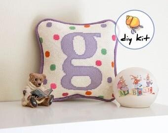 Initial Needlepoint Kits, Beginner Starter Kit, baby tapestry kit, nursery initial pillow kit, new baby pillow, easy needlepoint kits, 8x8