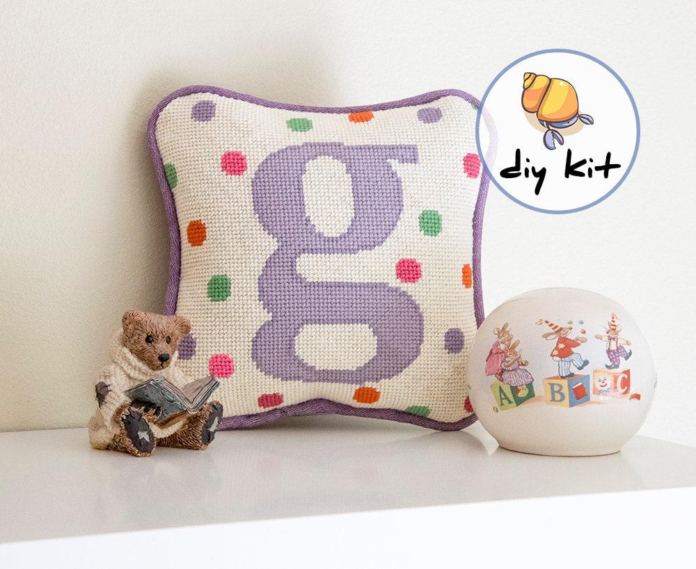 Modern Needlepoint Kits For Pillows : Initial Needlepoint Kits, Beginner Starter Kit, baby tapestry kit, nursery initial pillow kit ...