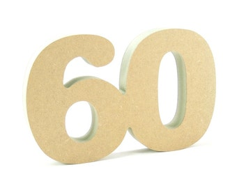 60th celebration wooden number free standing for DIY crafters birthday anniversary decoration