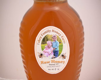Raw Vermont wildflower honey, Raw Honey, Vermont honey, 4 lb jar, unpasteurized honey, Fahey honey