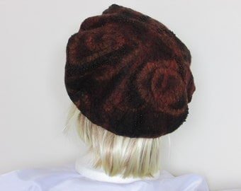 Dark red nuno felt beret with black glass beads