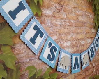 Elephant Baby Shower Banner, Baby Boy Shower Banner, Blue Shower Banner, Elephant Banner,Elephant Baby Shower Decoration