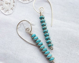 Handmade turquoise beads dangling earrings with gold wire