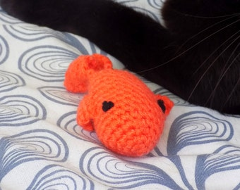Cat toy. Little fish with cat grass. Handmade crochet amigurumi
