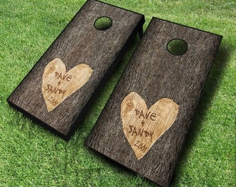Wedding Tree Carved Wedding set Cornhole Boards With CUSTOM TEXT! Bride and Groom Name! Date!! 8 Bags You Pick Colors!!