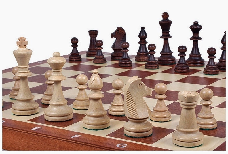 Brand new hand crafted wooden chess set tournament great board for Hand crafted chess set