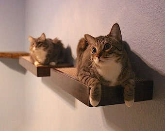 "18"" Cat Wall Shelf/Step Floating Stained Wood Style"