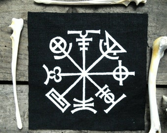 Occult patch - Icelandic stave, prevents you from getting lost punk patch, nu goth patch, pagan patches, witch, voodoo, screen printed patch