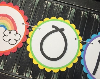 Rainbow High Chair Banner-High Chair Bunting-First Birthday-Photo Prop-Rainbow Birthday-Rainbow Baby Shower-I Am One-One Year Old