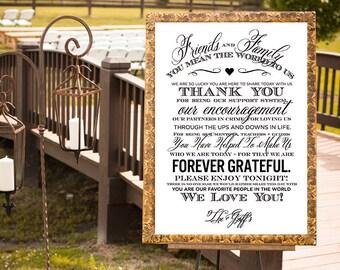 Wedding Thank You Sign, Wedding Sign, Reception Sign, Printable Guest Thank You Card, Custom Wedding Thank You Poster, Thank You Sign