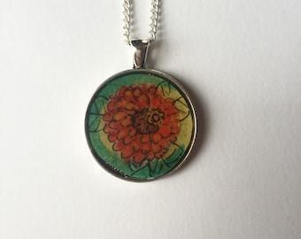 Zenia Necklace/ Handpainted/ Watercolor/ Silver