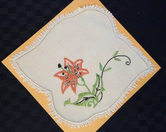 Hand Embroidered and Crochet Doylie.