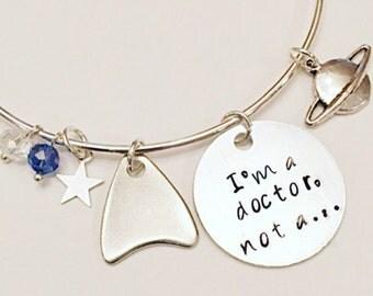 I'm a Doctor, Not a... Star Trek Jewelry Beyond Leonard McCoy Bones Karl Urban DeForrest Kelley Adjustable Bangle Charm Bracelet