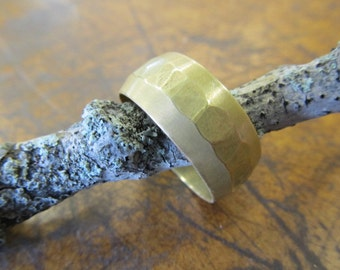 Industrial Hammered Brass Ring