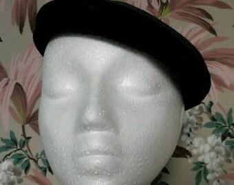 60s Black Velvet and Straw Beret Style Hat by Eva Mae