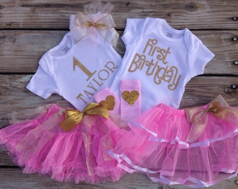 Personalized FIRST BIRTHDAY tutu outfit customized with child's name in pink & gold