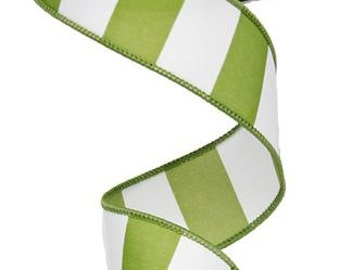 "1.5""X10yd Wide Stripe Wired Edge Ribbon ( lime green/white)"
