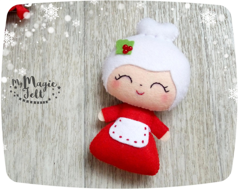 Christmas ornaments mrs claus felt christmas ornament for - Adornos arbol navidad fieltro ...