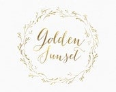 Gold Wreath Logo Design , Branch Wreath , Nature Logo , Wreath of Branches , Gold Logo , Twig Wreath , Circle Logo , Leaf Wreath