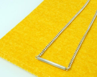 Silver Bar Necklace, Engraved Silver Bar Necklace,  Baby Necklace, Personalized  Silver Bar
