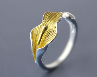 Calla Lily Flower Ring,Sterling Silver Ring,Gold Plated Ring,Adjustable Open Ring,Floral Jewelry,Wedding Ring,Christmas Gift,R250