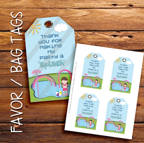 Splash Pad party invitation, favor tags, gift tags, thank you tags. Brunette Girl, Instant Download
