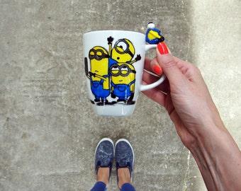 Minion Coffee Mug, Three Minions Selfie, Cute Minion Mug, Hand Painted Mug, Funny Coffee Mug, Selfie Coffee Mug, Kids Mug,
