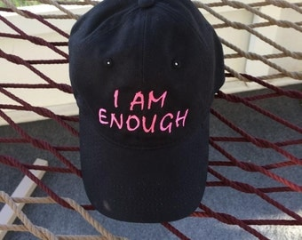 I AM ENOUGH - Black Hat With Neon Pink Letters