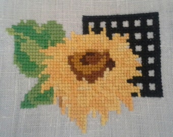 Linen Doily with Cross-Stitched  Sunflower