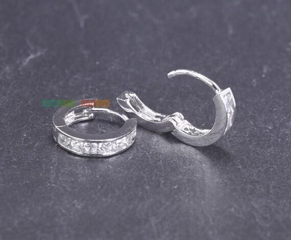 small silver huggie hoop earrings cz huggie earrings hinged