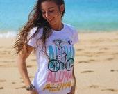 ALOHA -BIKE- T-shirt – cap sleeves – white cotton fabric, exclusive design, for women, girls – handmade in Hawaii